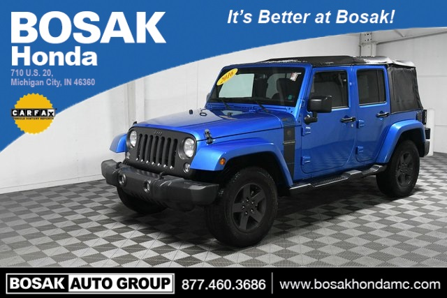 Used Blue Blue 2016 Jeep Wrangler Unlimited Sport 4D Sport Utility 1C4BJWDGXGL201266 C3745P 3.6L V6 24V VVT 5-Speed Automatic SUVs Heated Seats; Fog Lights; AWD