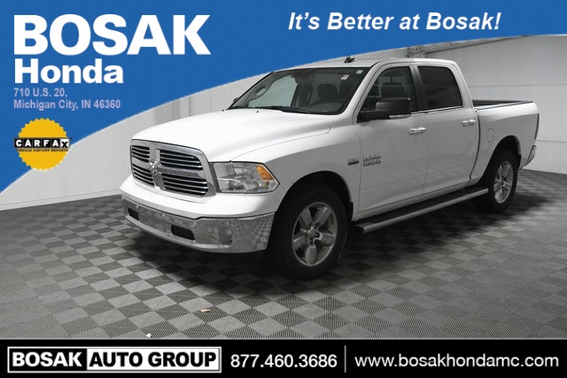 Used White White 2017 Ram 1500 Big Horn 4D Crew Cab 3C6RR7LT3HG505413 C3835 HEMI 5.7L V8 Multi Displacement VVT 8-Speed Automatic Trucks Heated Seats; Navigation System; AWD; Satellite Radio Ready