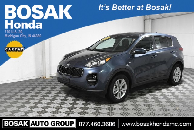 Used Blue Blue 2018 Kia Sportage LX 4D Sport Utility KNDPMCAC9J7444595 C3712P 2.4L I4 DGI DOHC 16V 6-Speed Automatic Electronic with Overdrive SUVs Fog Lights